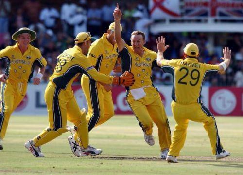 Australian bowler Andy Bichel celebrates