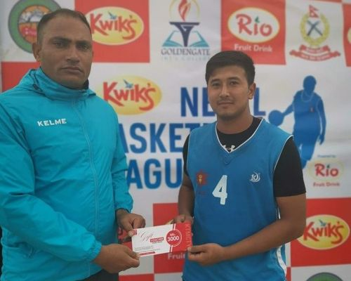 Ayush Singh (R) of Nepal Army Club was declared man of the match for his 20 points, 5 assists, 3 rebounds and 4 steals.