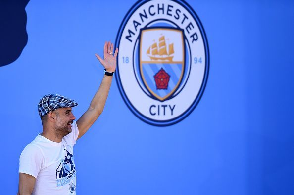 Pep during Manchester City Teams Celebration Parade