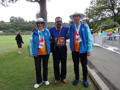 With hospitable individuals like the two on either side of me, the city of Dunedin staged memorable matches at the 2015 ICC Cricket World Cup, including the one between Afghanistan and Sri Lanka at the University Oval on 22 February 2015 – my best spectator experience across eleven countries. (© Ranjan Mellawa)