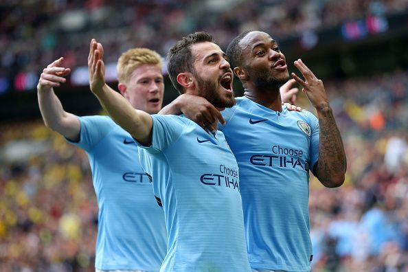 (L-R: de Bruyne, Bernardo Silva and Sterling celebrate as City cruised to a 6-0 win over Watford