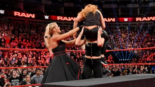 Lacey Evans, Becky Lynch, and Charlotte