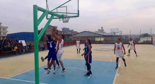 Action from the Times International Club vs Royal Basketball Club match