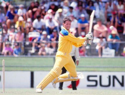 A fine 90 by Dean Jones helped Australia beat India by 1 run
