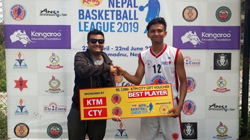Ashish Basnet (R) of Nepal Army was declared man of the match for his 23 points, 1 assist and 1 rebound