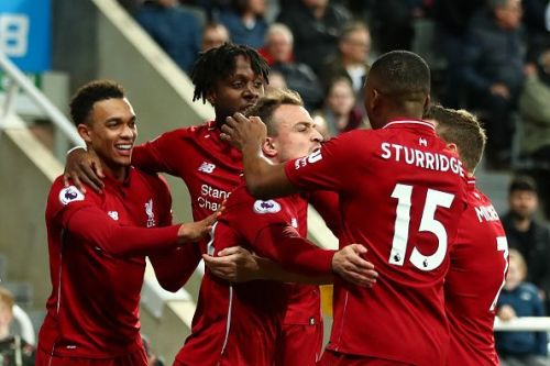 Liverpool players celebrate during their recent 3-2 away Premier League win over Newcastle