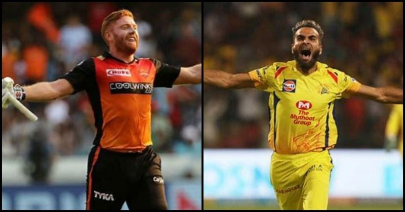 Jonny Bairstow and Imran Tahir (Image courtesy - BCCI/iplt20.com)