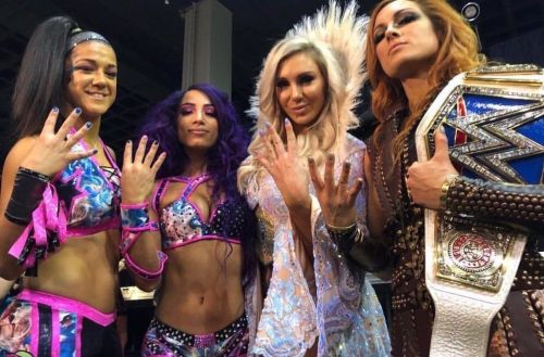 The Four Horsewomen of WWE--Bayley, Sasha Banks, Charlotte Flair, and Becky Lynch.