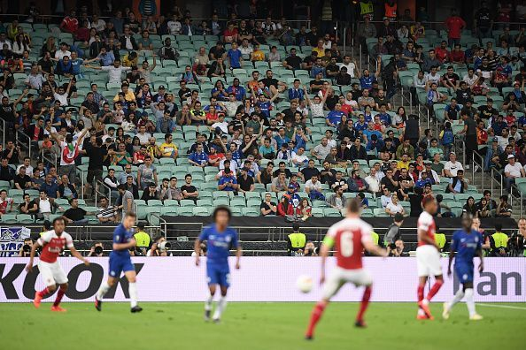 Hundreds of empty seats could be seen throughout the stadiumum