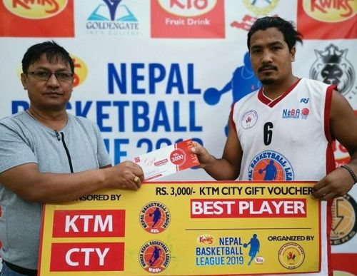 Man of the match Bikram Dangol (R) netted 23 points & collected 3 rebounds for Golden Gate