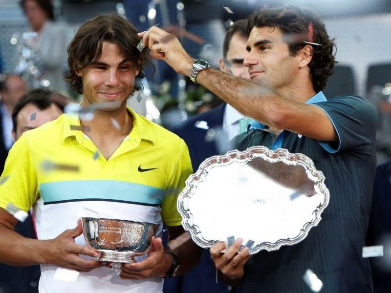 Roger Federer and Rafael Nadal at the Madrid Open 2009