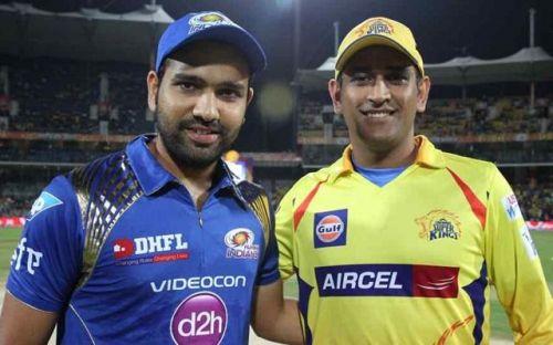 MS Dhoni and Rohit Sharma (image credits: iplt20.com)
