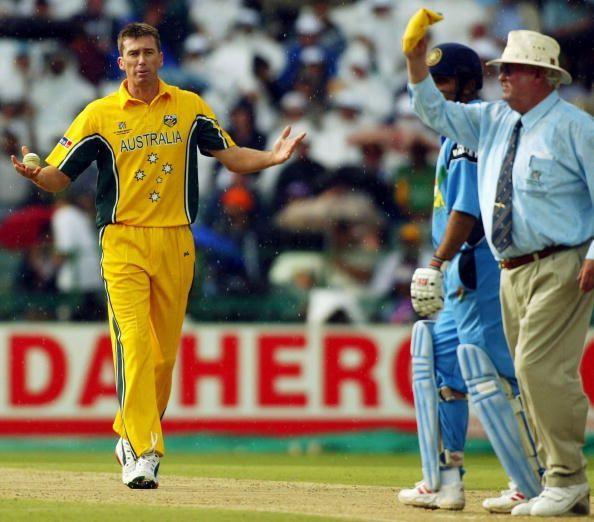 Glenn McGrath of Australia protest to umpire David Shepherd