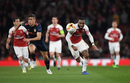 Alexandre Lacazette leads an Arsenal attack against Valencia