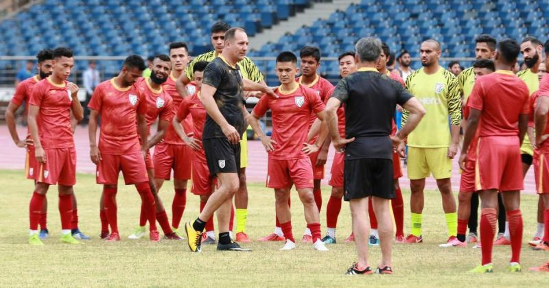 Indian National Football Team in Practice Section