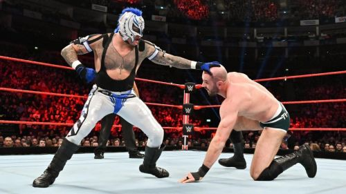Cesaro and Mysterio in action