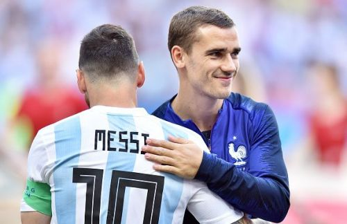 Griezmann and Messi before the 2018 World Cup semi Round of 16 match