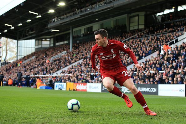 Andrew Robertson in action for Liverpool FC - Premier League