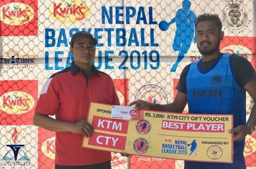 Saurav Shrestha (R) of Budhanilkantha was declared man of the match for his 39 points & 11 rebounds & 6 assists