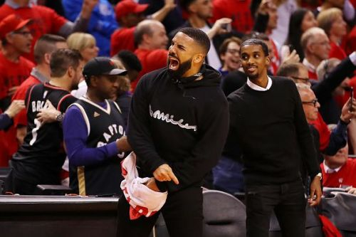 Toronto Raptors' ambassador and superfan Drake supporting his team during Game Six