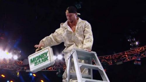 James Ellsworth scaled the ladder and got the contract...unfortunately, he wasn't even booked in the match, which was for the women's division to boot.