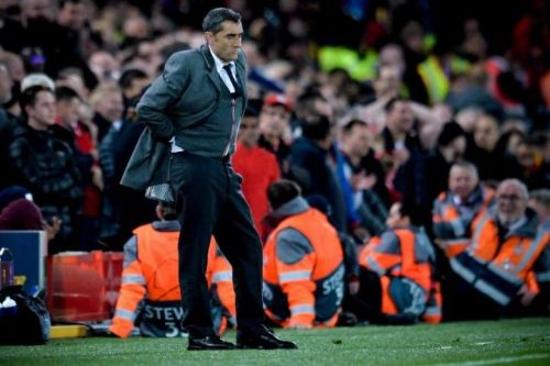 Ernesto Valverde during the game on Tuesday against Liverpool