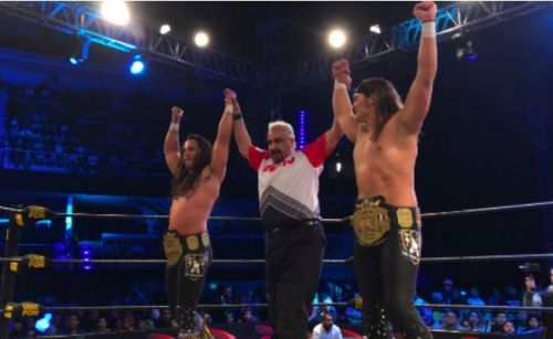The Young Bucks defended the AAA World Tag Team Championships at Double or Nothing.