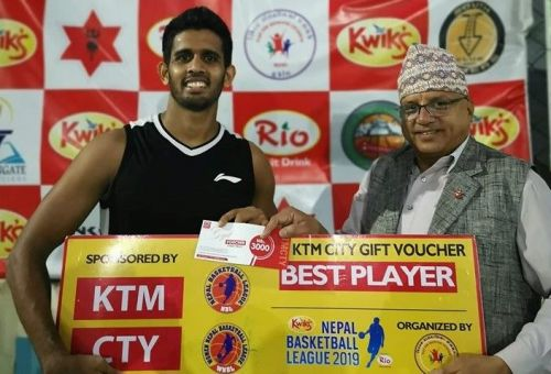 Sri Lankan import Praneeth Udumalagala (L) of Times Basketball Club was adjudged the Man of the Match