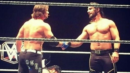 AJ Styles shakes hands with Seth Rollins, but at MITB the time for cordiality will be long past.