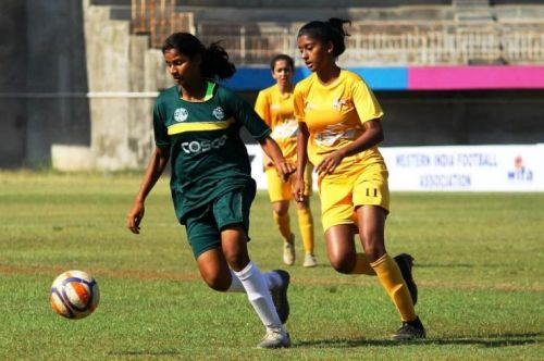 Action from the Junior Girls' National Football Championship in Kolhapur