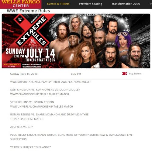 Extreme Rules Match Card.