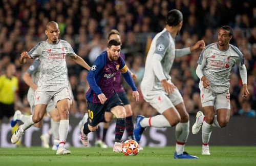 Barcelona's Lionel Messi in action against Liverpool during the Champions League Semi-Final First Leg