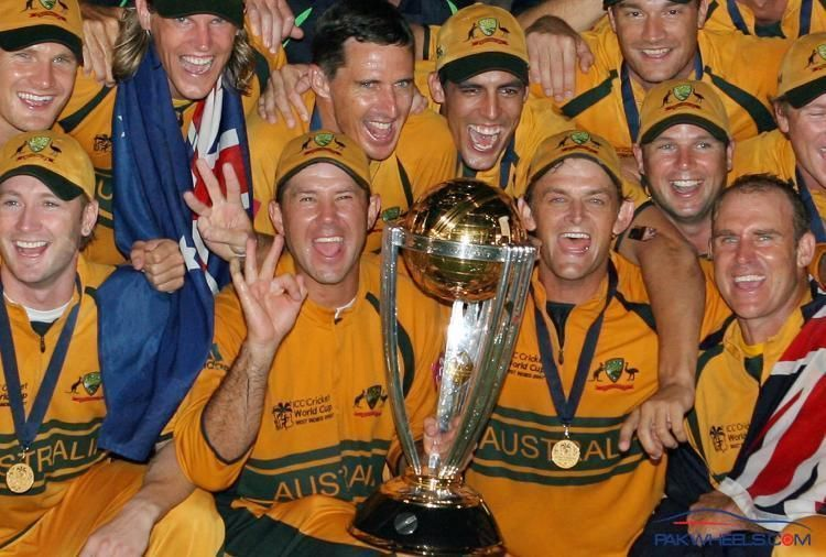 The Australian team celebrating after lifting the 2007 ICC World Cup