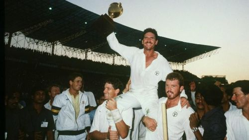 Allan Border celebrates after lifting his maiden World Cup trophy