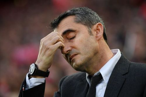 Valverde looks distraught after the result at Anfield