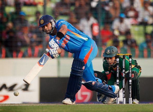 Virat Kohli scored an unbeaten 100 in his debut World Cup match against Bangladesh in 2011