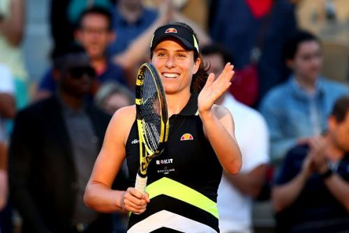 2019 French Open Day Six, Britain's Johanna Konta celebrates her victory against Viktoria Kuzmova in the third round