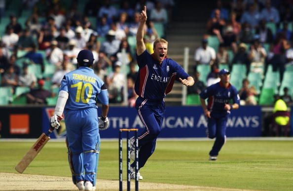 Andrew Flintoff celebrates the wicket of Sachin Tendulkar in the 2003 World Cup.