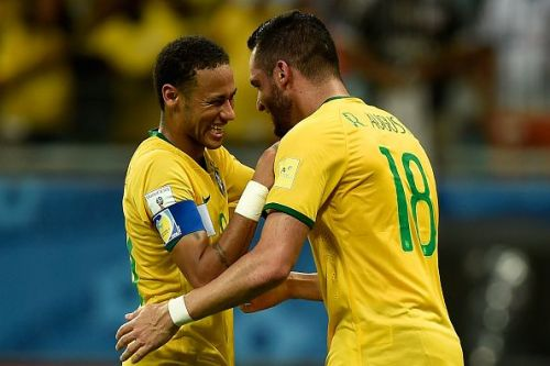 Neymar with Renato Augusto, his likely replacement in the Brazil squad for the upcoming Copa America