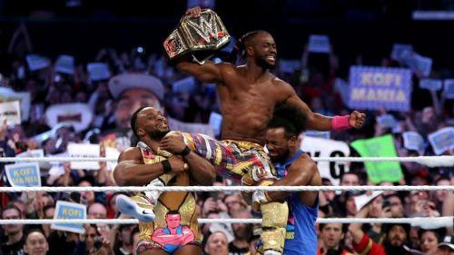 Kofi Kingston Celebrating his win at Wrestlemania