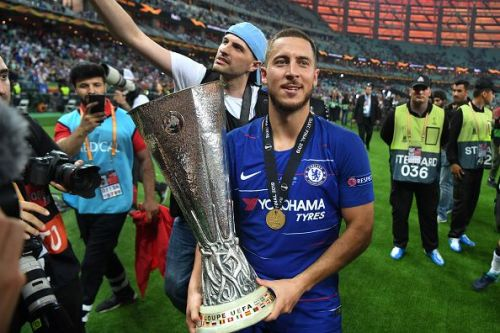 Hazard with the Europa League trophy