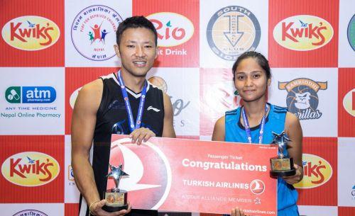 Sadish Pradhan (L) of Times International Club & Anusha Malla (R) of Nepal Police Club were declared MVP of the Nepal Basketball League 2019