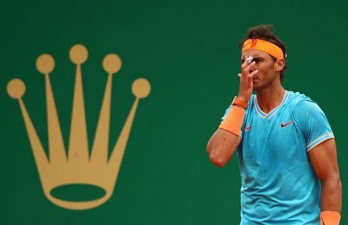 A dejected looking Rafael Nadal
