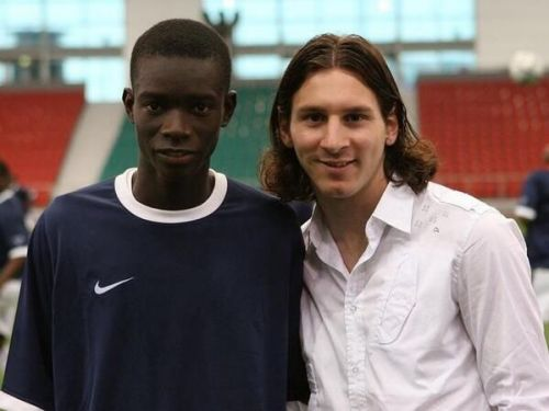Diagne with Lionel Messi during his time with Barcelona B
