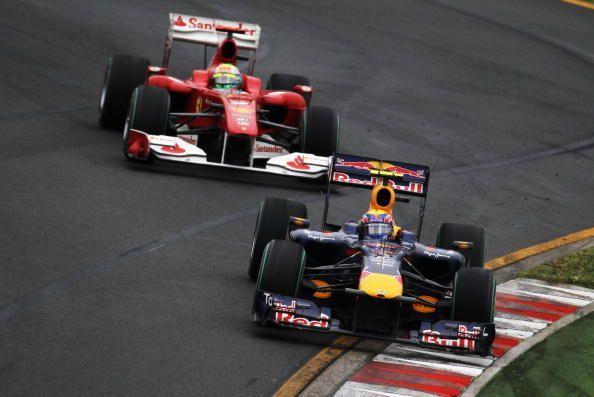 Felipe Massa (rear) and Mark Webber