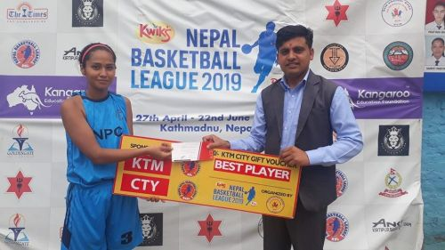 Anusha Malla (L) of Nepal Police Club was declared player of the match