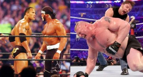 Hogan and Rock delivered at WrestleMania 18, whilst Lesnar Vs Ambrose was a dud in 2016.