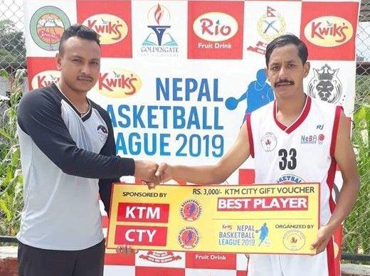 Robin Khatri (R) of Nepal Army Club was declared man of the match