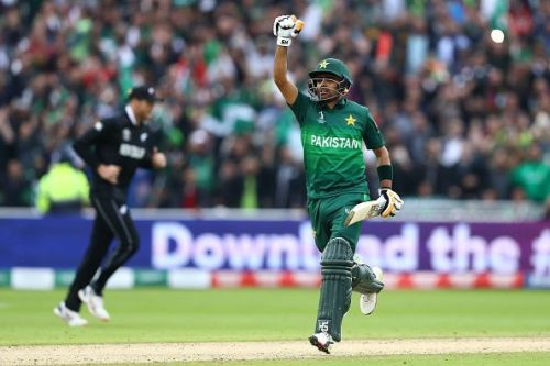 Babar Azam celebrates his match-winning century against New Zealand