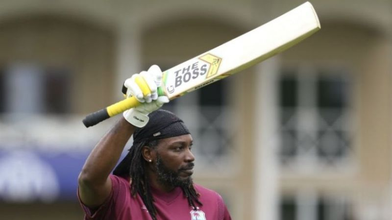Chris Gayle continued with a personal message on his bat